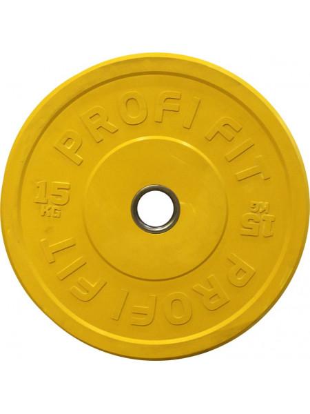 Диск для штанги каучуковый, желтый, PROFI-FIT D-51, 15 кг
