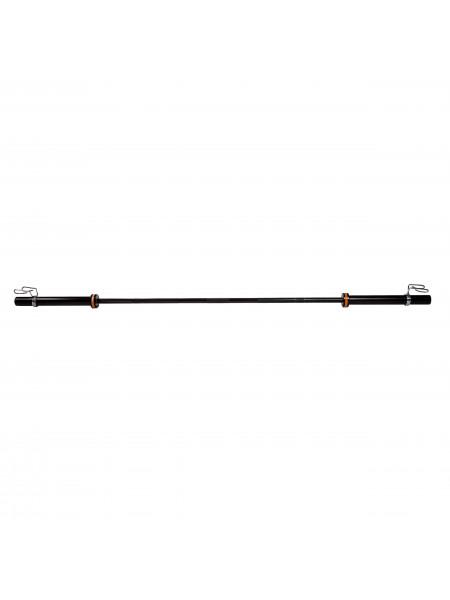 Гриф для штанги BLACK, D-50, L2200, гладкая втулка, до 500 кг, замки-пружины