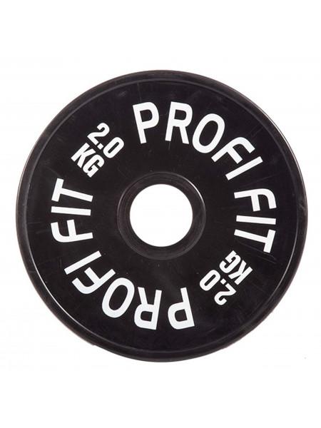 Диск для штанги каучуковый, черный, PROFI-FIT D-51, 2 кг