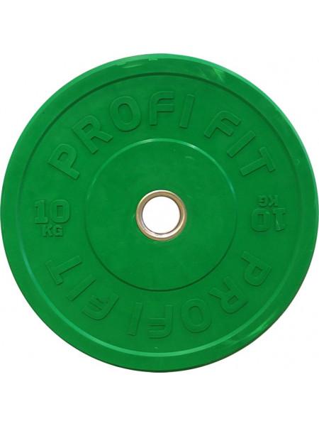 Диск для штанги каучуковый, зеленый, PROFI-FIT D-51, 10 кг