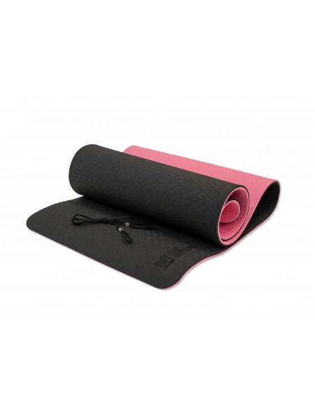 Коврик для йоги 10 мм двухслойный TPE черно-розовый